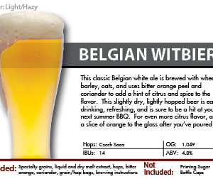 Belgian Witbier Recipe Kit