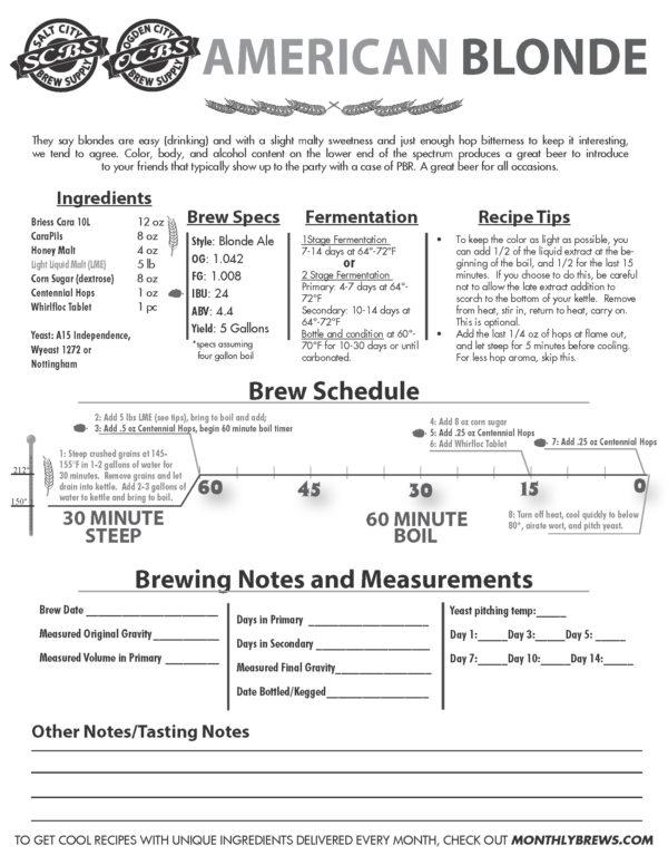 SCBS Blonde Ale Recipe