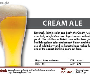 SCBS Cream Ale Recipe Kit