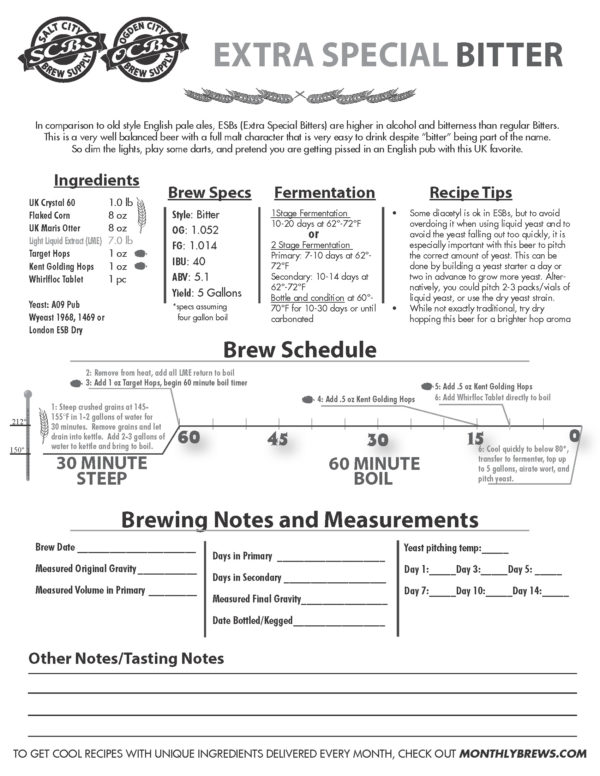 SCBS Salt City Bitter (ESB) Recipe