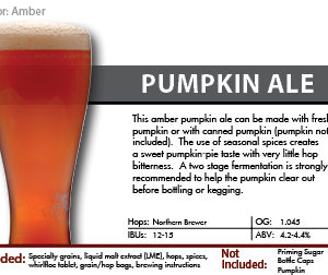 SCBS Pumpkin Ale Recipe Kit