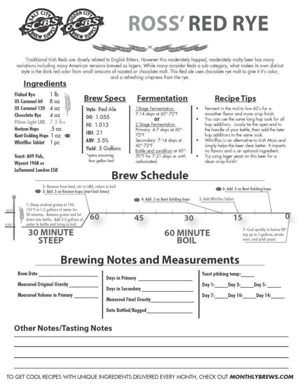 SCBS Ross' Red Rye Ale Recipe