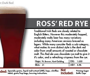 SCBS Ross' Red Rye Ale Recipe Kit
