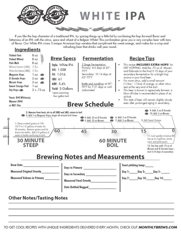 SCBS White IPA Recipe
