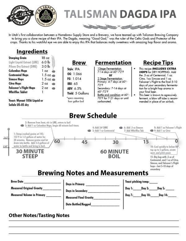OCBS Talisman Dagda IPA Recipe Kit-2367