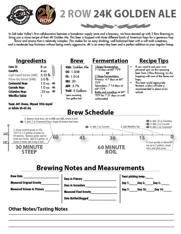 SCBS 2Row Brewing 24K Golden Ale