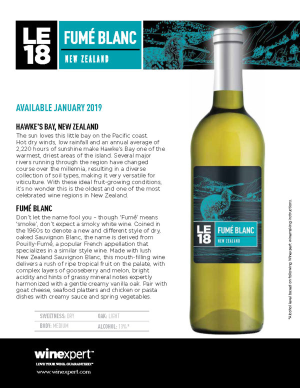 LE2018 Fume Blanc Wine kit - JAN