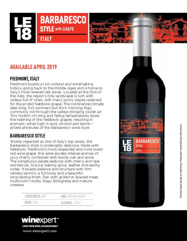 LE2018 Barbaresco Wine kit w/Skins